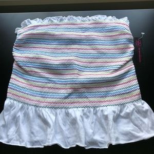 White with Colored Stripes Tube Top
